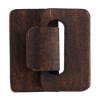 Multi-strand Wood Hook And Eye 4.5x4.8x1.2cm 10pcs Brown